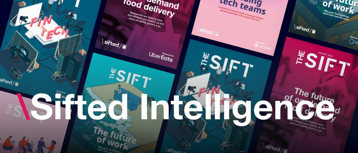 Flat lay of Sifted report covers overlaid by text that says 'Sifted Intelligence'